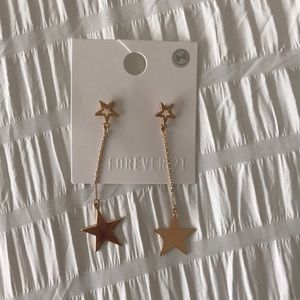 F21 Gold Star Dangling Earrings
